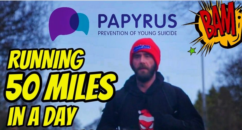 Stockport Spiderman's 50 miles in one day for Papyrus